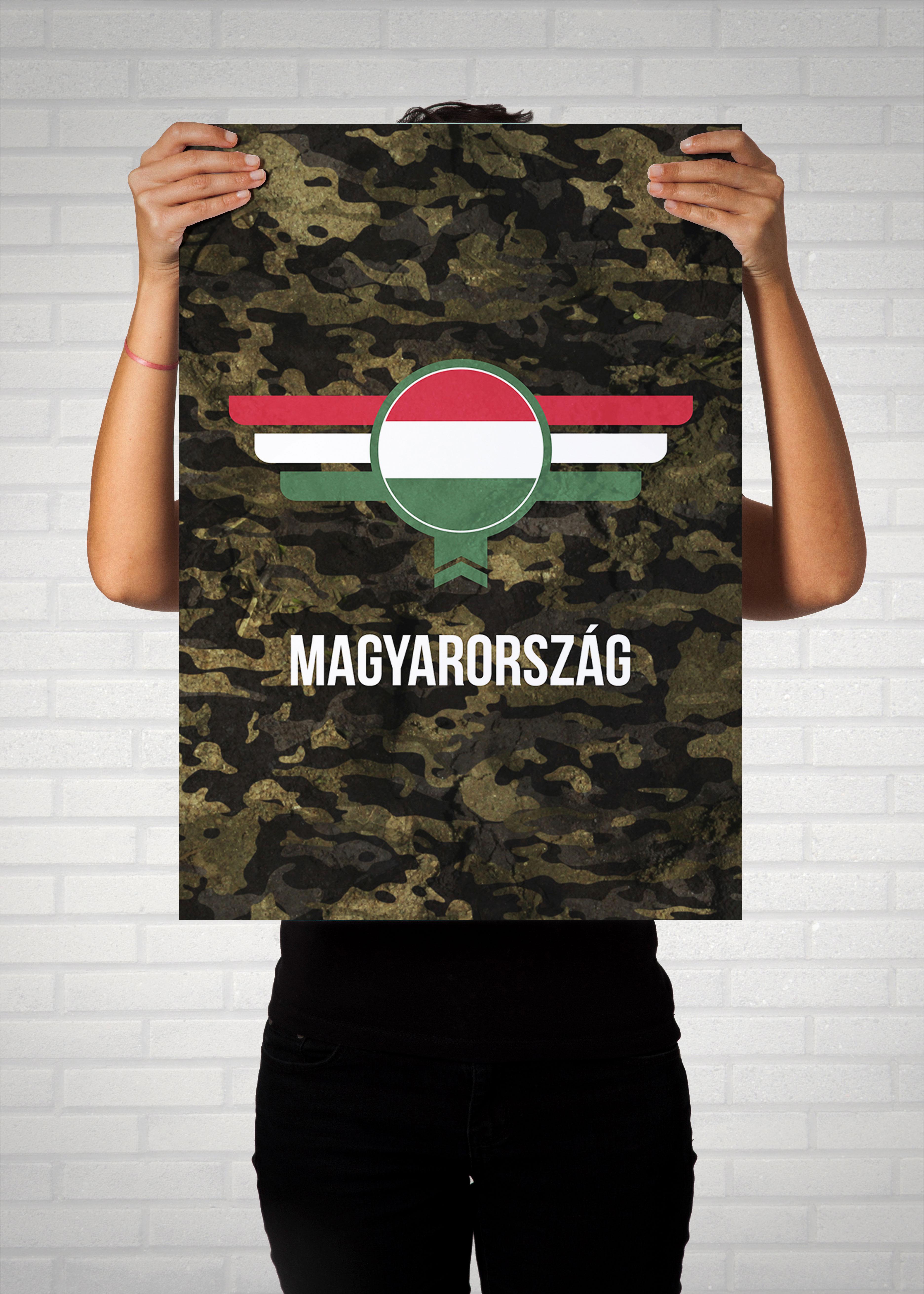 Ungarn Magyarország Camouflage mit Schriftzug - Poster