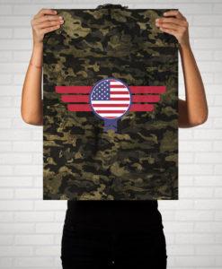 USA Amerika Camouflage - Poster