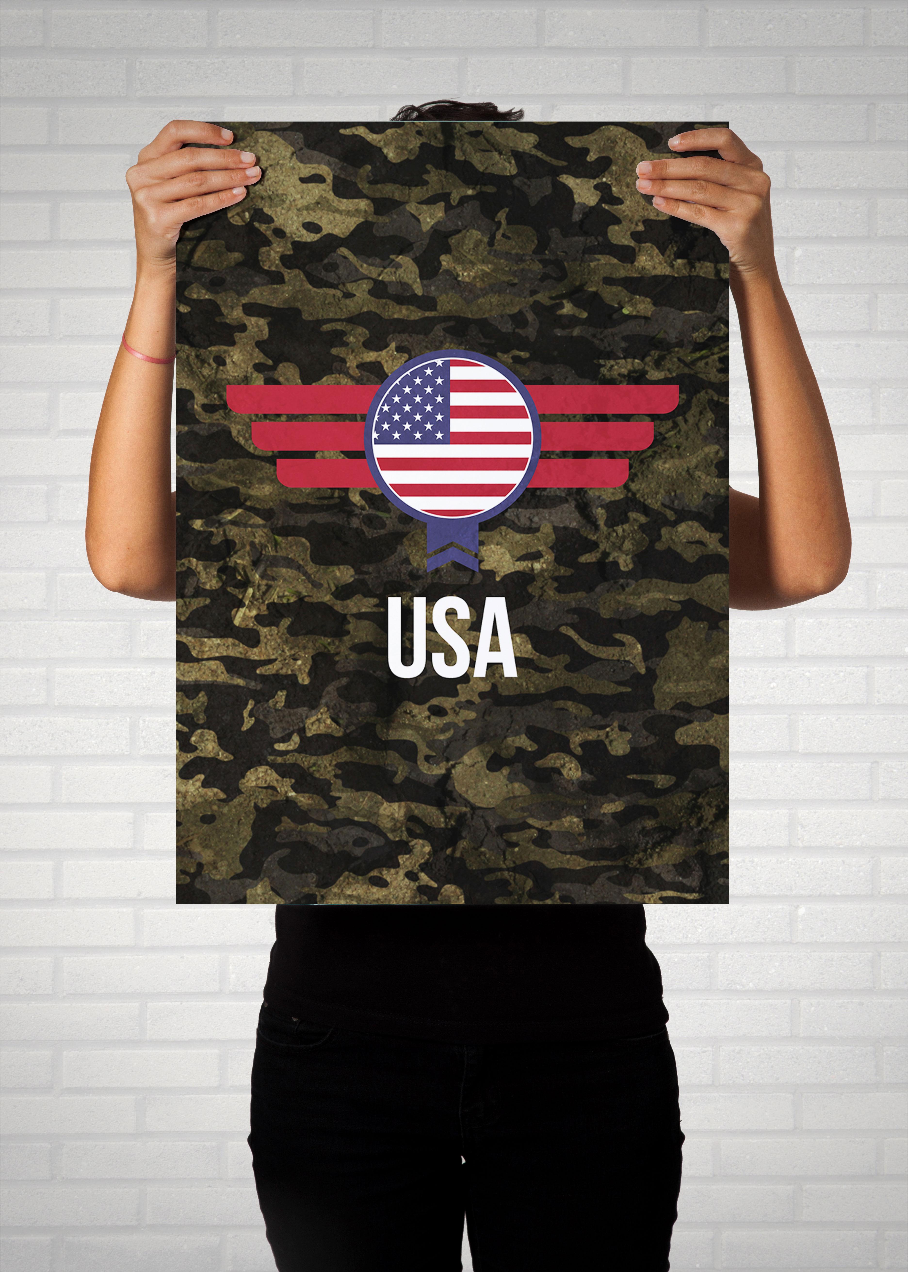 USA Amerika Camouflage mit Schriftzug - Poster