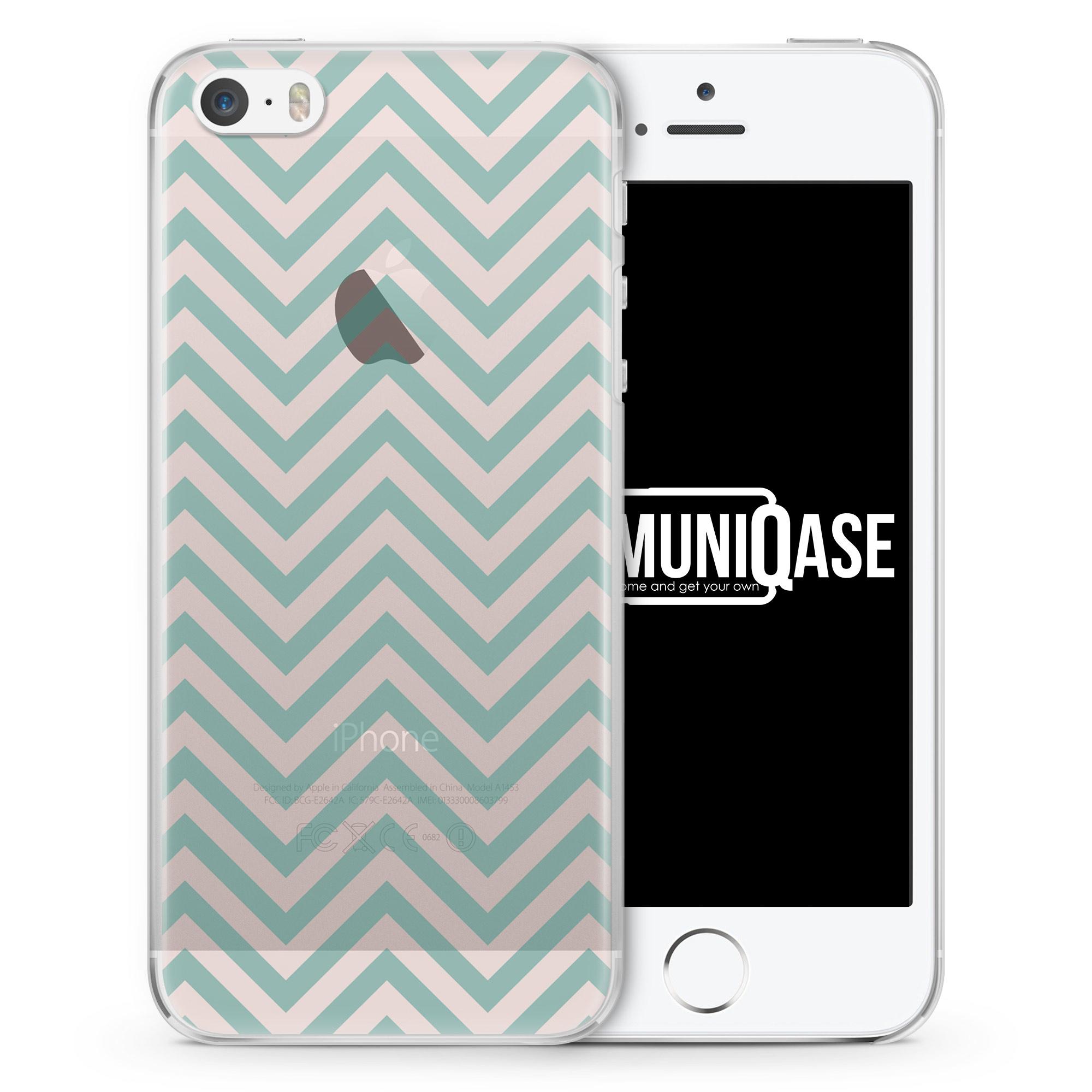 Rosa Türkis Zick Zack Muster - transparente Handyhülle für iPhone SE