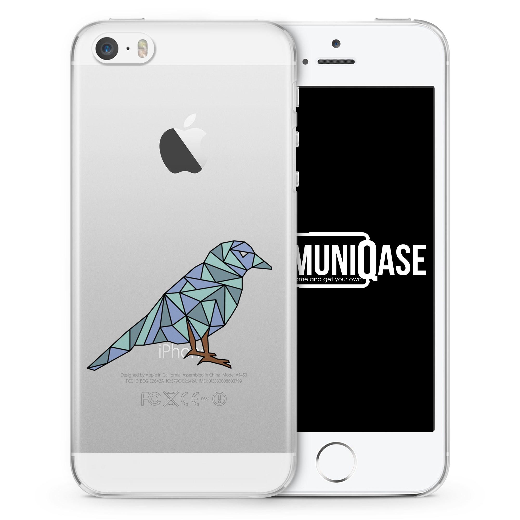 Abstrakt Geometrisch Vogel - transparente Handyhülle für iPhone SE