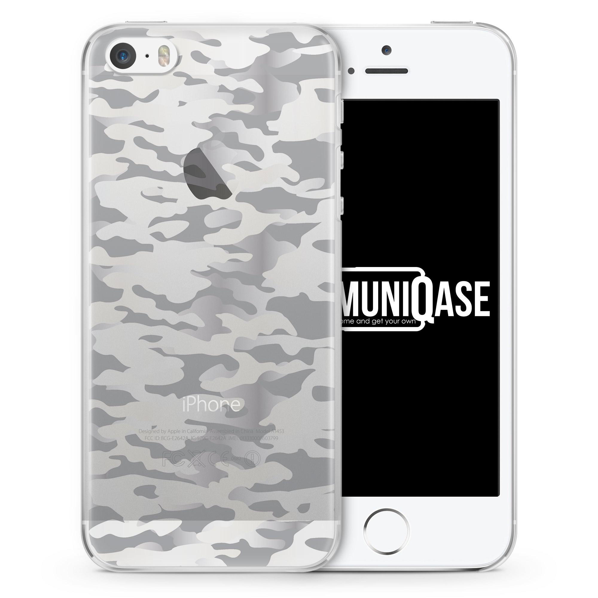 Camouflage Grau - transparente Handyhülle für iPhone SE