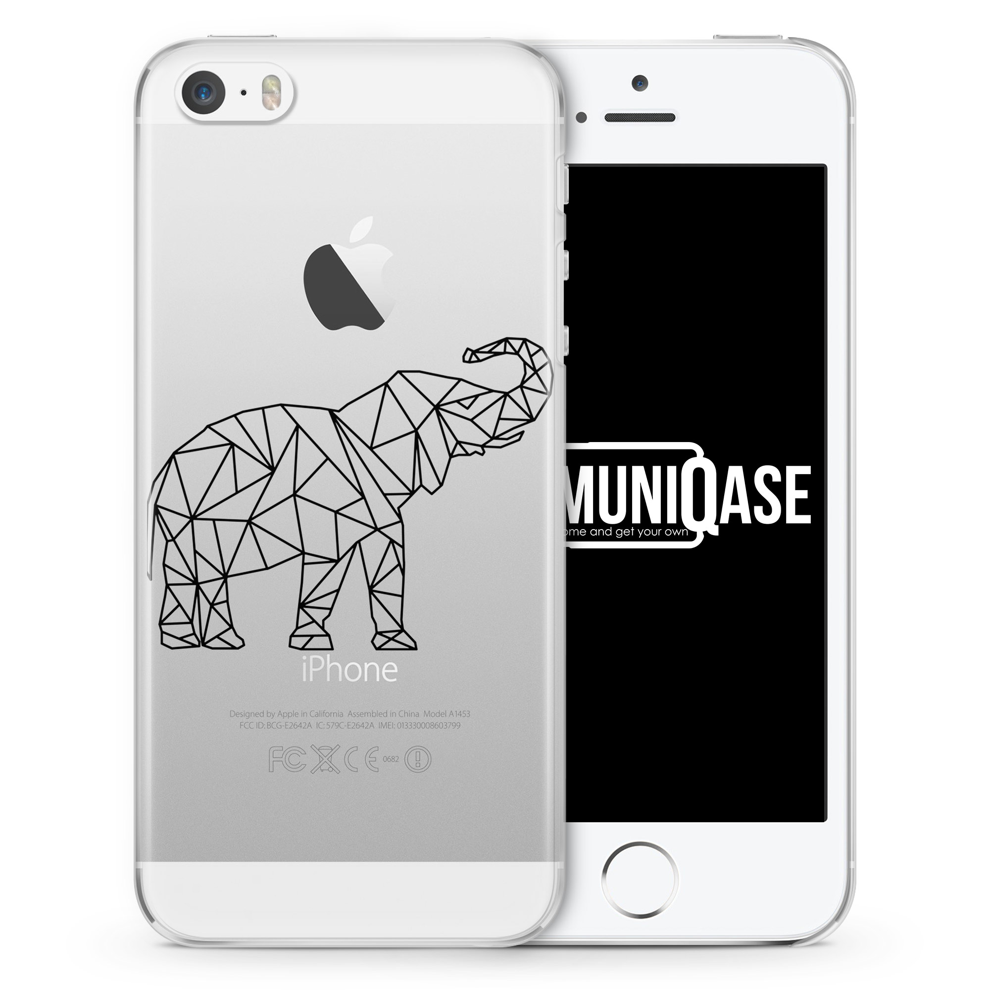 Geometrischer Elefant - transparente Handyhülle für iPhone SE