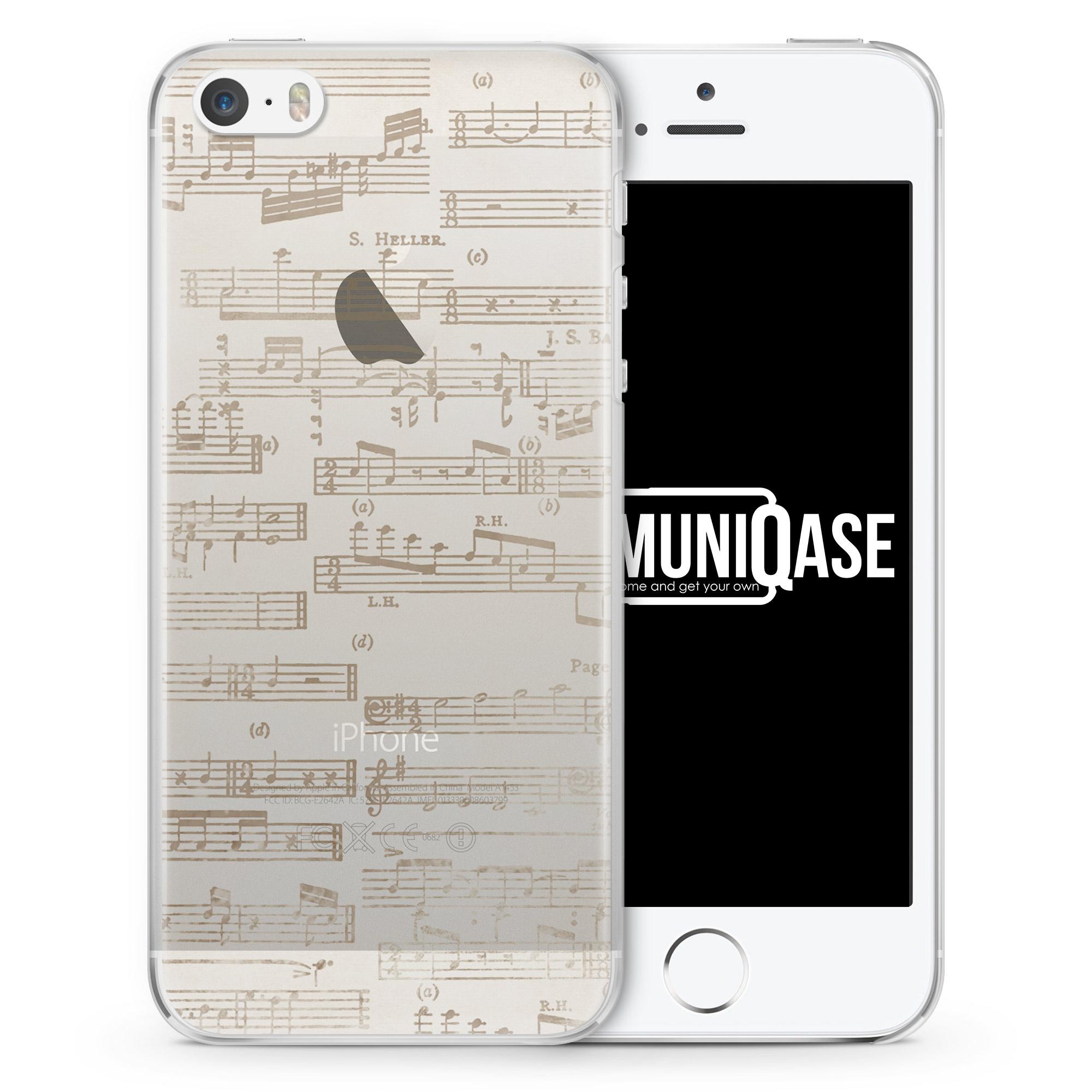 Musik Noten Vintage - transparente Handyhülle für iPhone SE