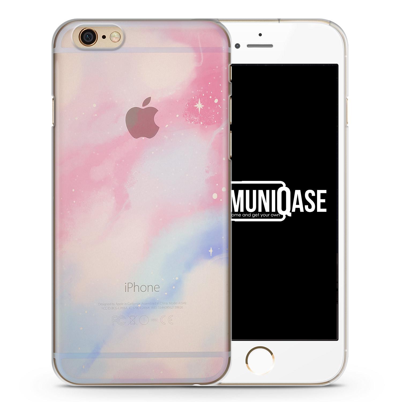 Pastell Galaxy Farben Pink - Blau - transparente Handyhülle für iPhone 6 Plus & 6s Plus