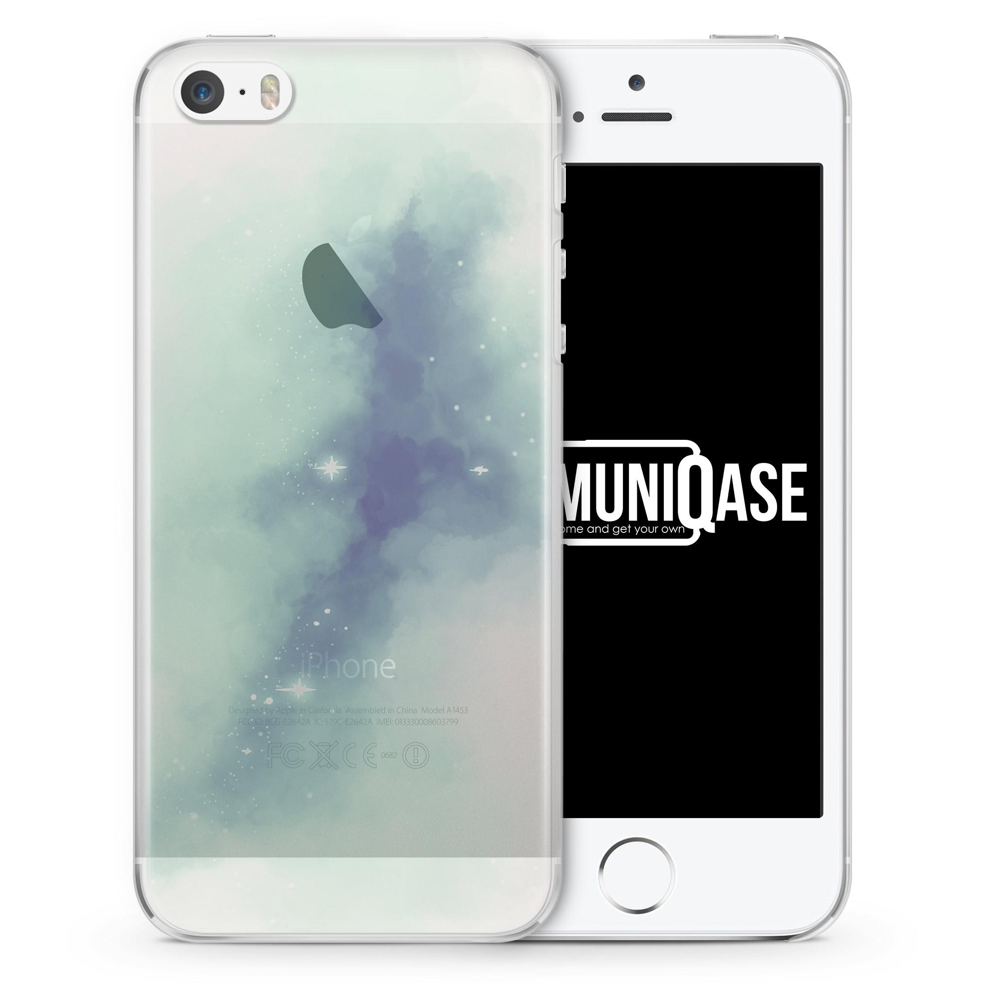 Pastell Galaxy Farben Grün - transparente Handyhülle für iPhone SE
