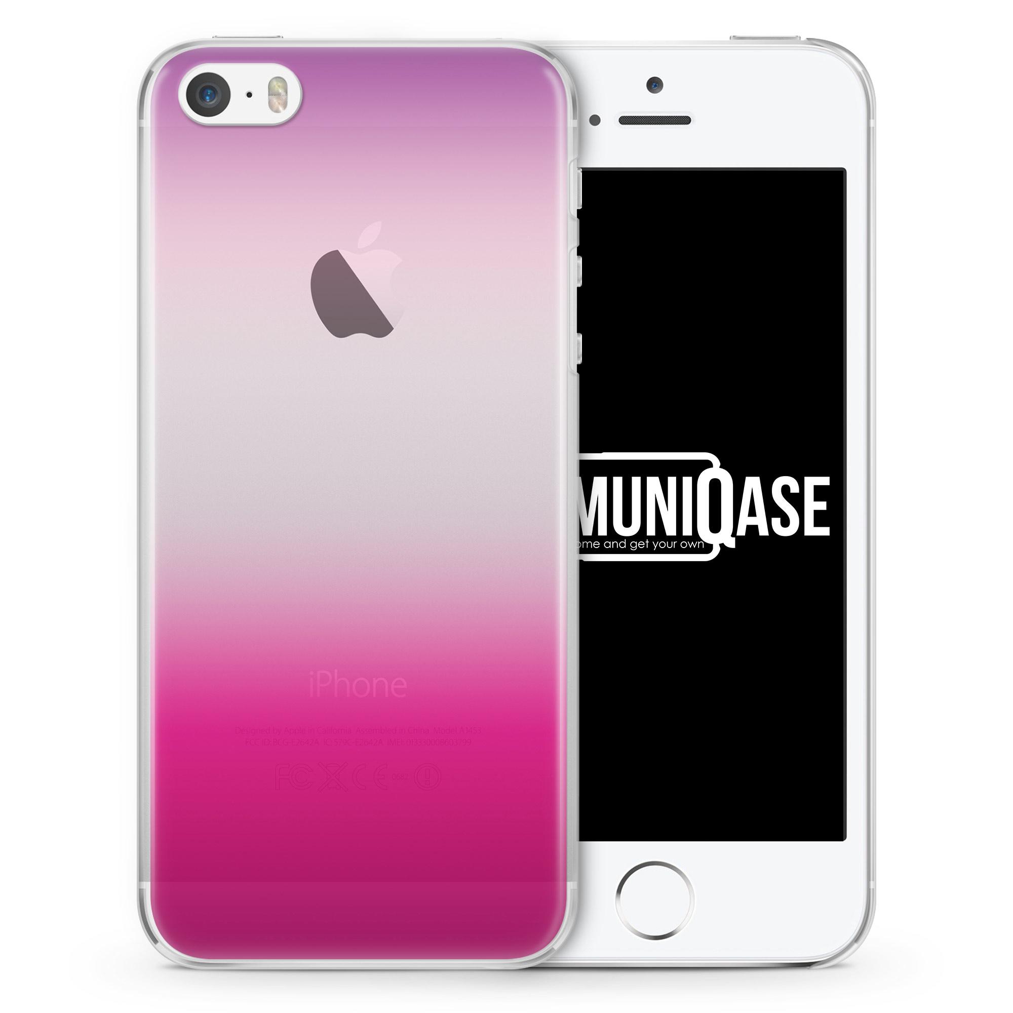 Lila - Weiß - Pink Verlauf - transparente Handyhülle für iPhone SE