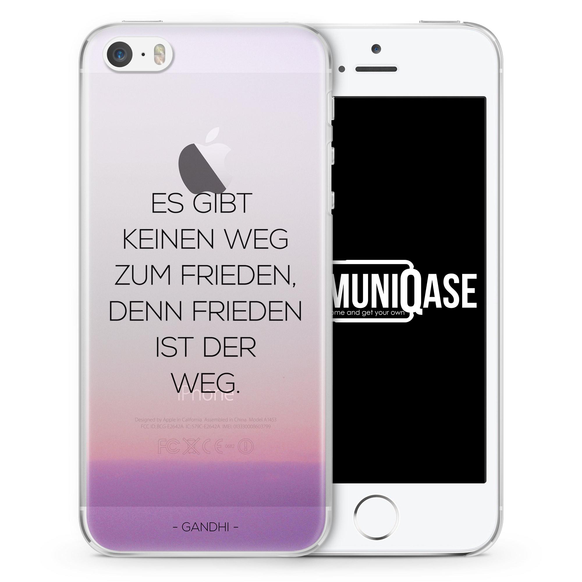 Es gibt keinen Weg zum Frieden Gandhi Zitat - transparente Handyhülle für iPhone SE
