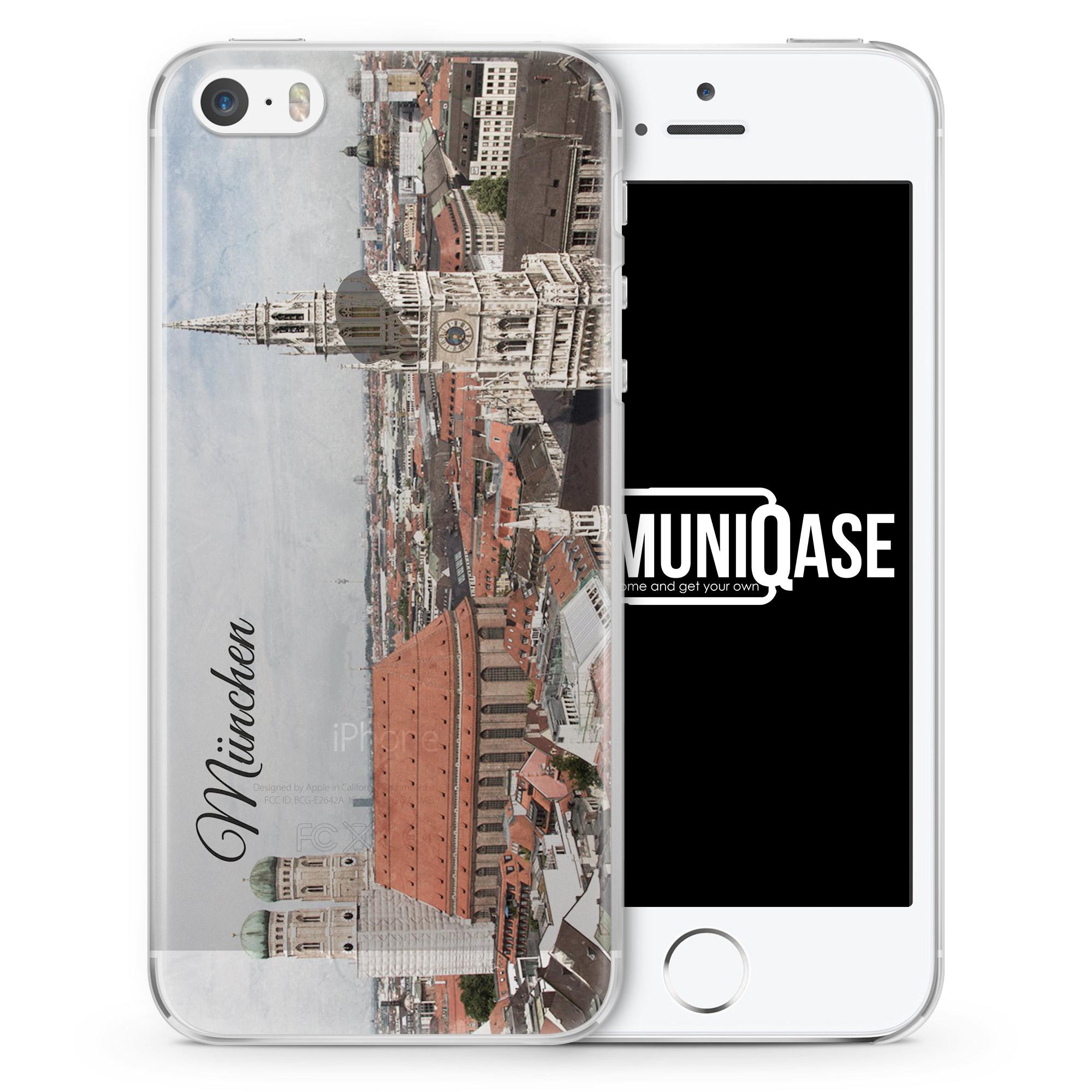 München Schriftzug Skyline Foto - transparente Handyhülle für iPhone SE