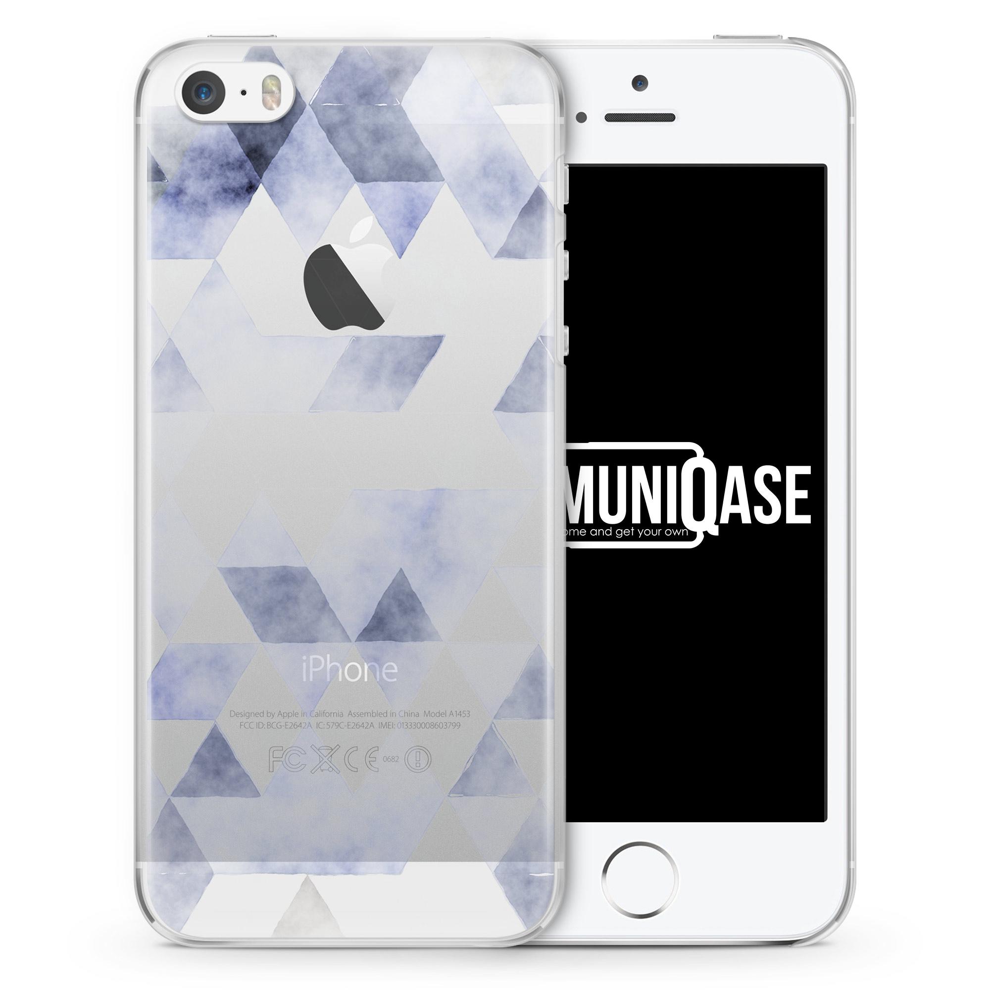 Grau Blaue Dreiecke Wasserfarben Muster - transparente Handyhülle für iPhone SE
