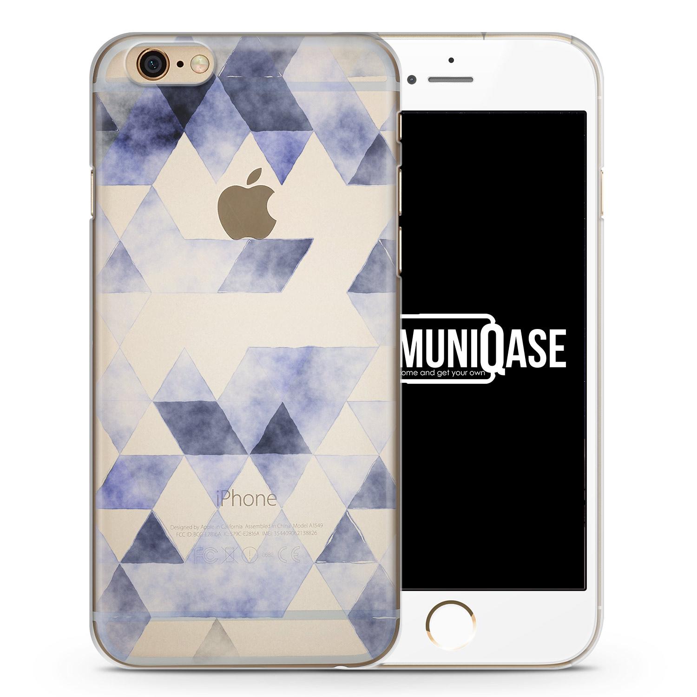 Grau Blaue Dreiecke Wasserfarben Muster - transparente Handyhülle für iPhone 6 Plus & 6s Plus