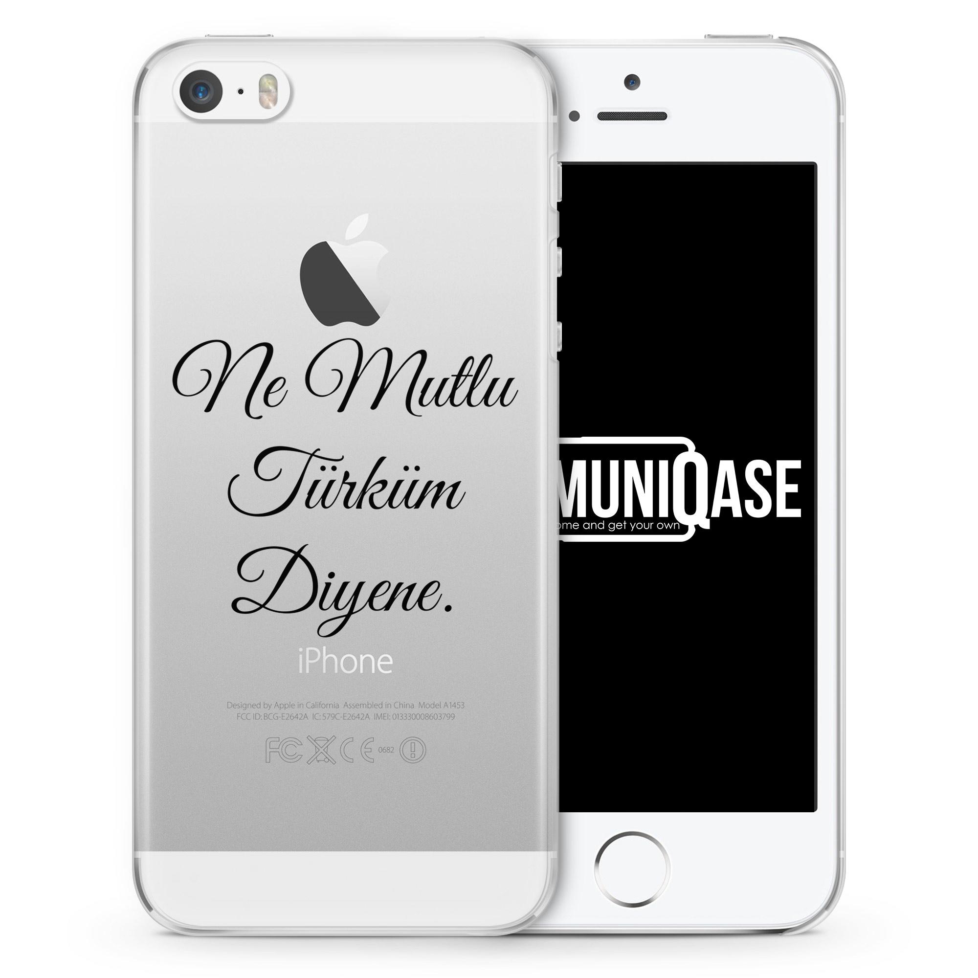 Ne Mutlu Türküm Diyene Schwarz - transparente Handyhülle für iPhone SE