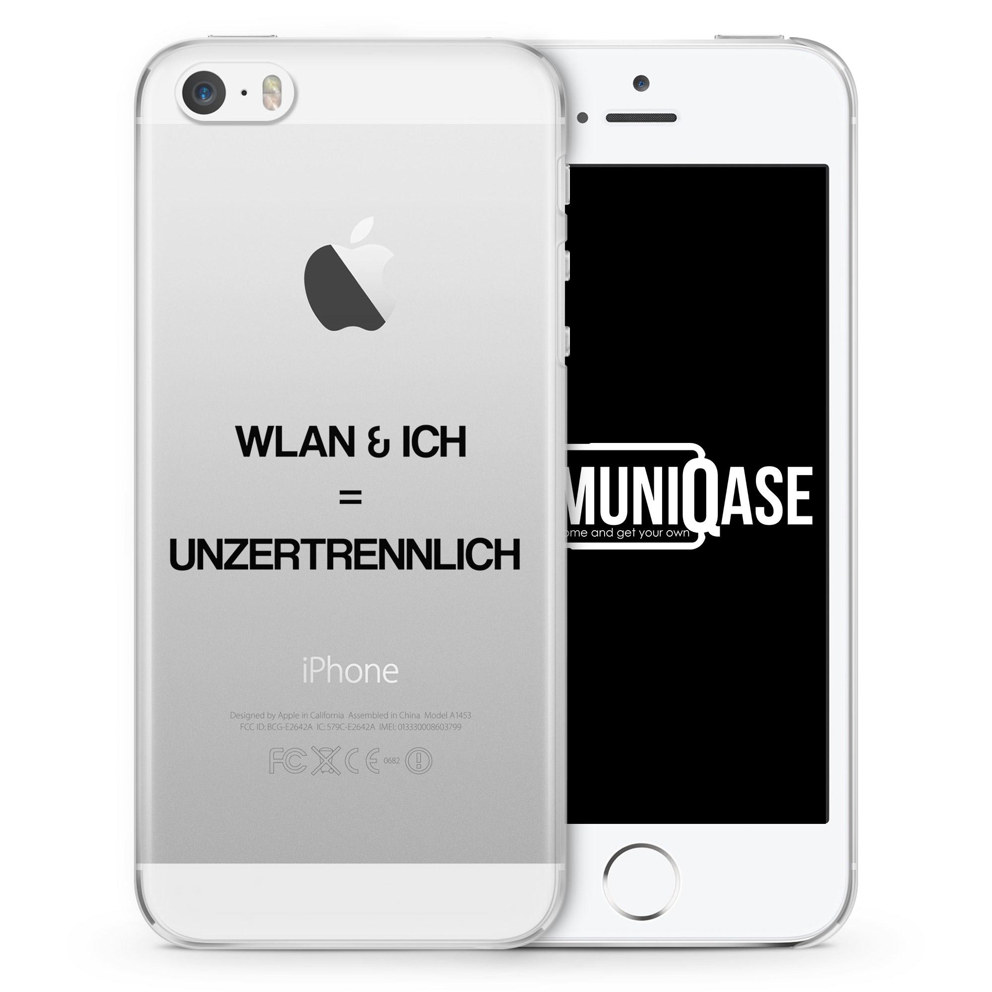 WLAN & Ich = Unzertrennlich - transparente Handyhülle für iPhone SE