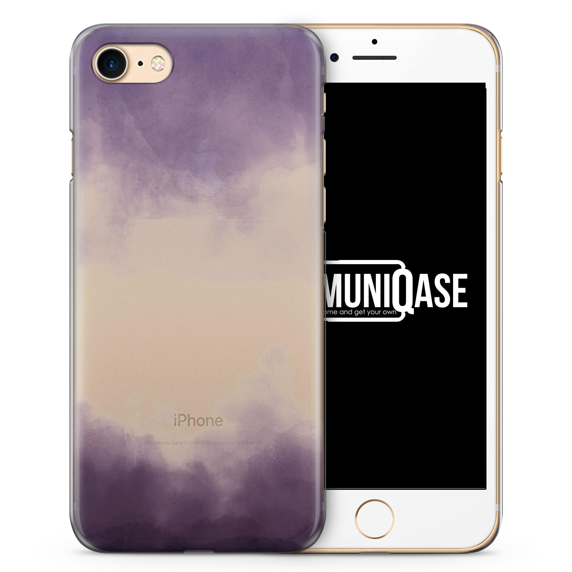 Wasserfarben Muster Lila Schwarz - transparente Handyhülle für iPhone 7