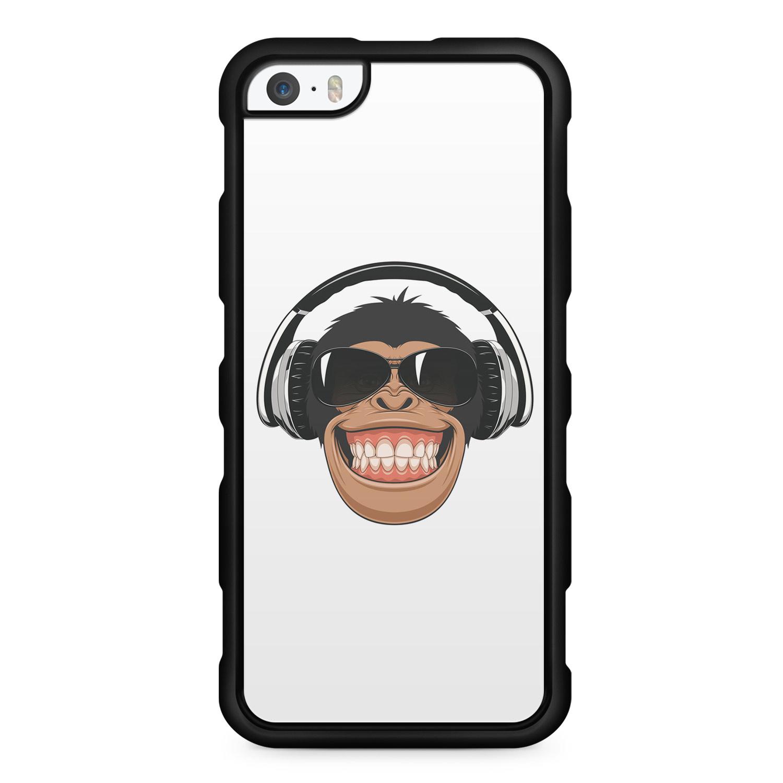 Funny Affe Mit Kopfhörer - Silikon Handyhülle für iPhone SE