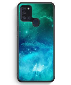 Samsung Galaxy A21s Silikon Hülle - Galaxy Universe Nebula Blau-Grün