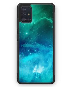 Samsung Galaxy A51 Silikon Hülle - Galaxy Universe Nebula Blau-Grün