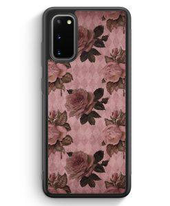 Samsung Galaxy S20 Silikon Hülle - Rosen Muster Vintage