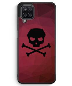Samsung Galaxy A12 Silikon Hülle - Totenkopf Skull Rot-Schwarz