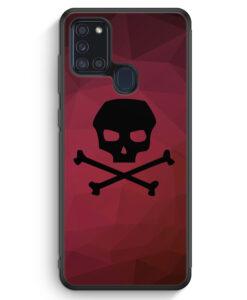 Samsung Galaxy A21s Silikon Hülle - Totenkopf Skull Rot-Schwarz