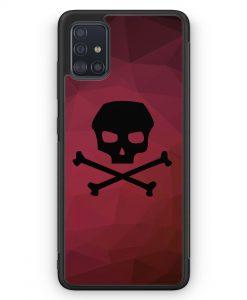Samsung Galaxy A51 Silikon Hülle - Totenkopf Skull Rot-Schwarz