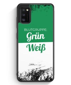 Samsung Galaxy A41 Silikon Hülle - Blutgruppe Grün Weiß