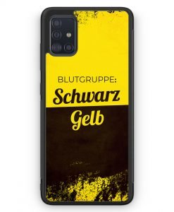 Samsung Galaxy A51 Silikon Hülle - Blutgruppe Schwarz Gelb