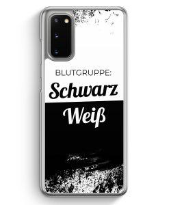 Samsung Galaxy S20 Hülle - Blutgruppe Schwarz Weiß