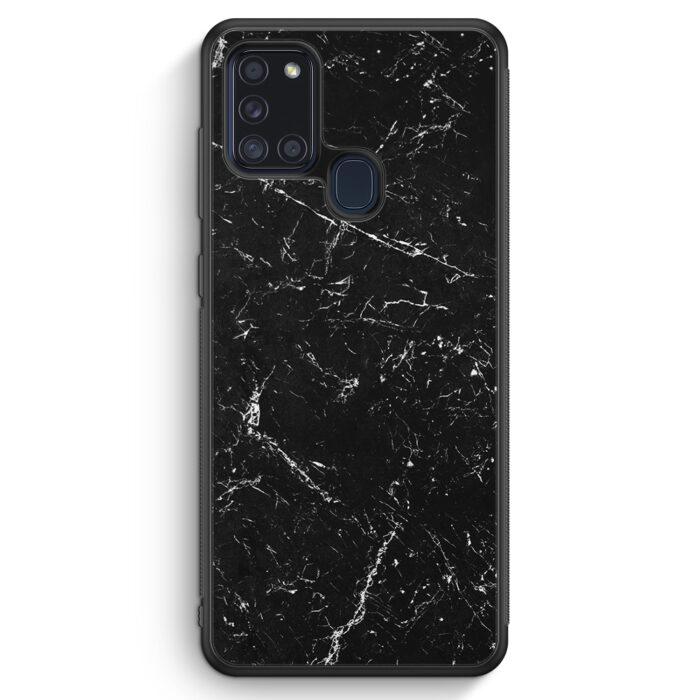 Samsung Galaxy A21s Silikon Hülle - Marmor Marble Schwarz