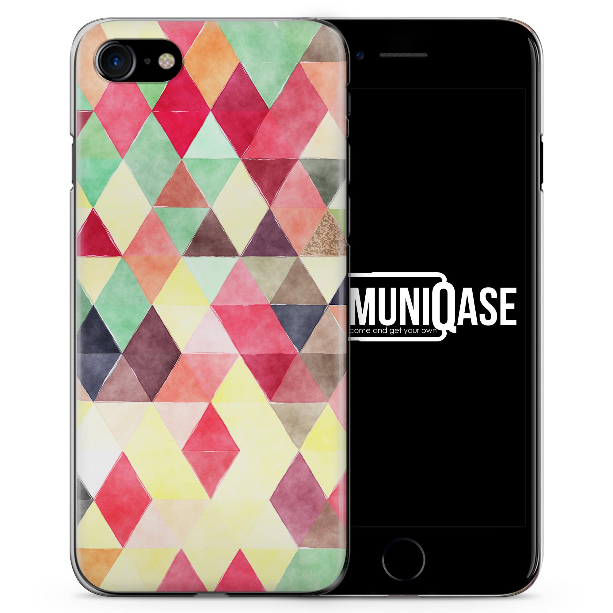Rosa Minze Dreiecke Wasserfarben Muster - Slim Handyhülle für iPhone 7
