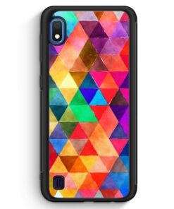 Samsung Galaxy A10 Silikon Hülle - Bunte Dreiecke Wasserfarben
