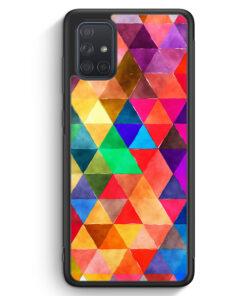 Samsung Galaxy A71 Silikon Hülle - Bunte Dreiecke Wasserfarben