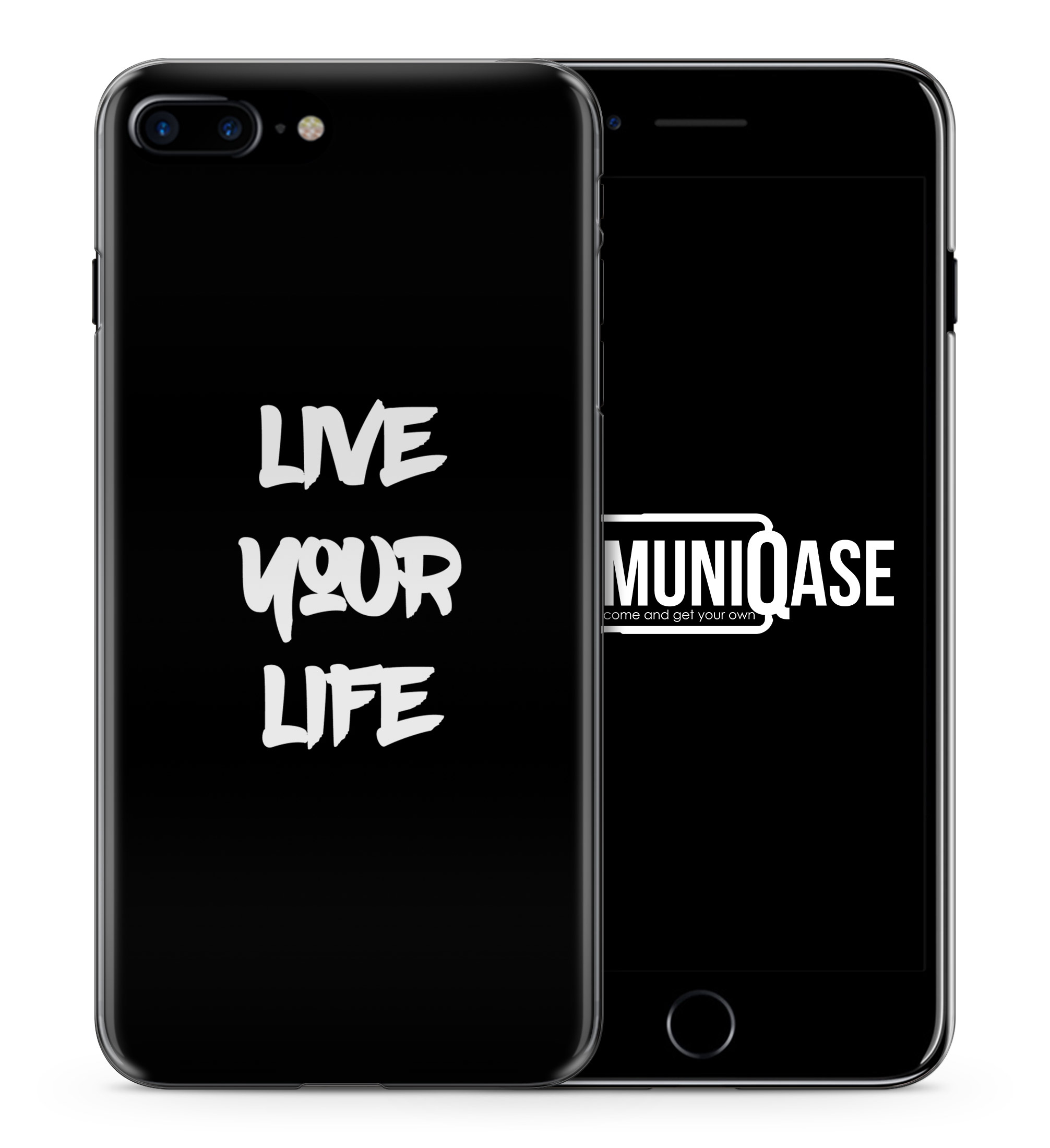 Live Your Life Schwarz - Slim Handyhülle für iPhone 7 Plus