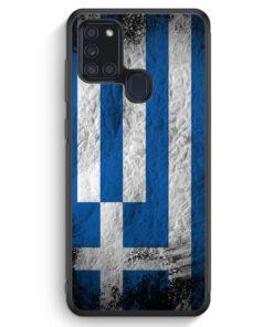 Samsung Galaxy A21s Silikon Hülle - Griechenland Splash Flagge