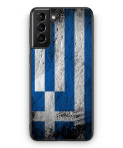 Samsung Galaxy S21 Silikon Hülle - Griechenland Splash Flagge