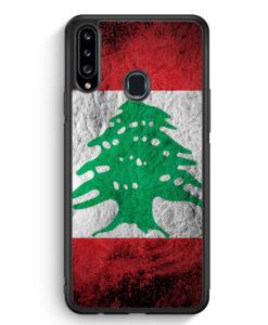 Samsung Galaxy A20s Silikon Hülle - Libanon Splash Flagge