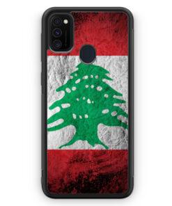Samsung Galaxy M21 Silikon Hülle - Libanon Splash Flagge