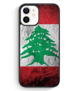 iPhone 12 Silikon Hülle - Libanon Splash Flagge