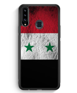 Samsung Galaxy A20s Silikon Hülle - Syrien Splash Flagge