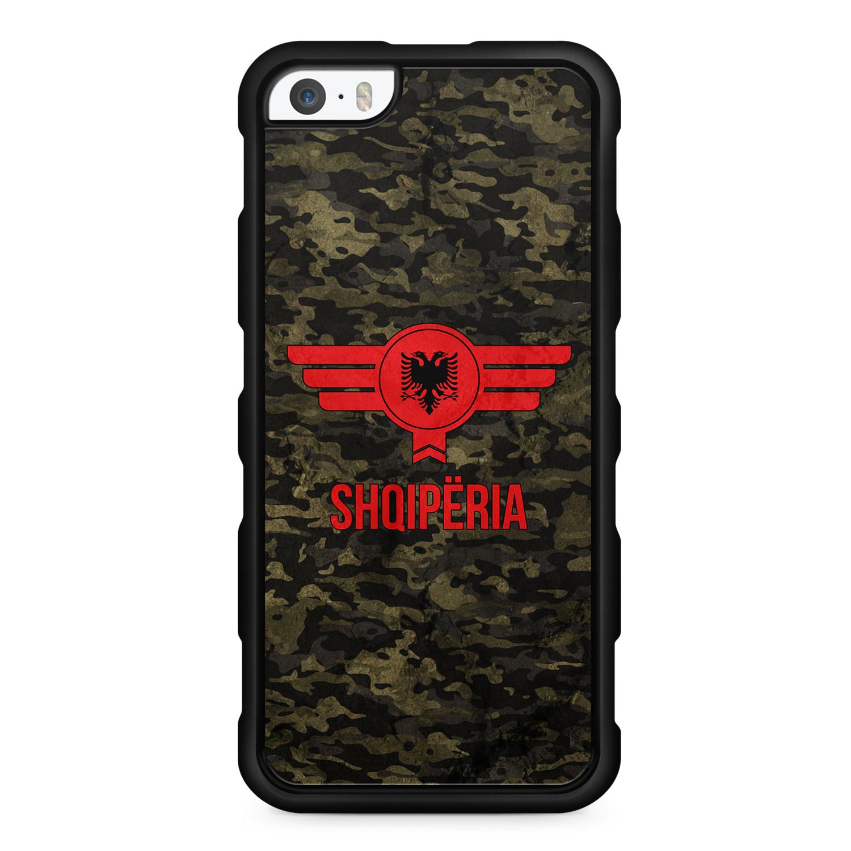Albanien Camouflage mit Schriftzug - Silikon Handyhülle für iPhone SE