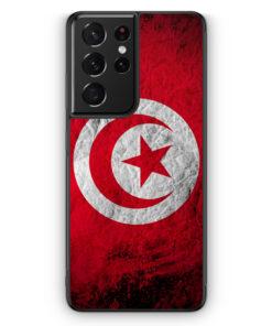 Samsung Galaxy S21 Ultra Silikon Hülle - Tunesien Splash Flagge
