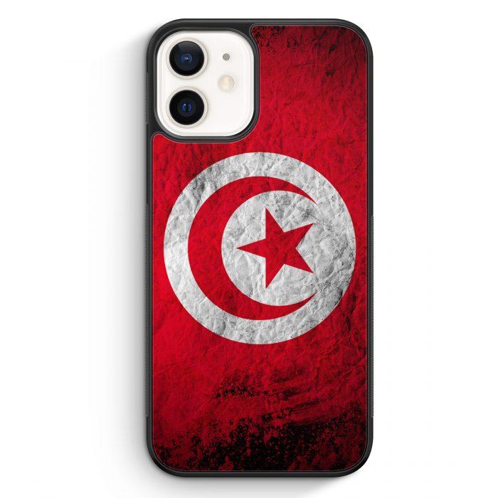 iPhone 12 mini Silikon Hülle - Tunesien Splash Flagge