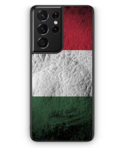 Samsung Galaxy S21 Ultra Silikon Hülle - Ungarn Splash Flagge