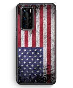 Huawei P40 Silikon Hülle - USA Amerika Splash Flagge