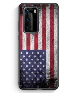 Huawei P40 Pro Silikon Hülle - USA Amerika Splash Flagge
