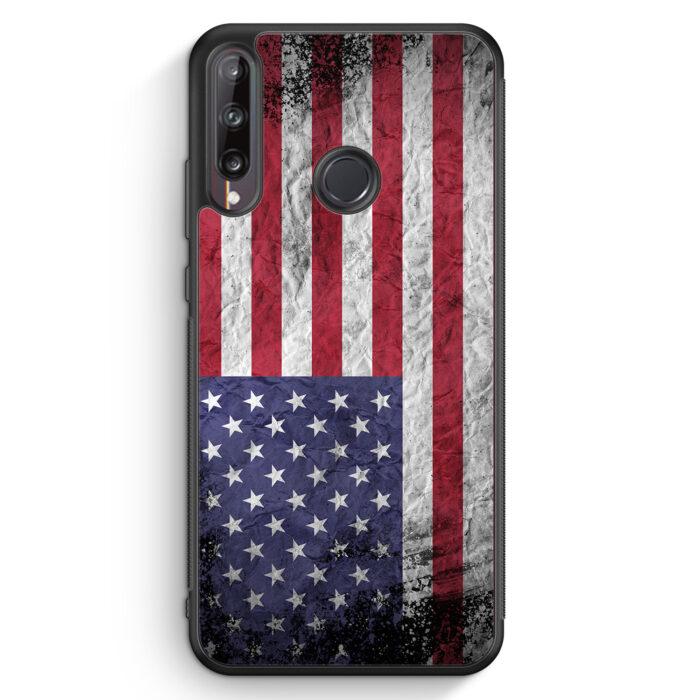 Huawei P40 lite E Silikon Hülle - USA Amerika Splash Flagge