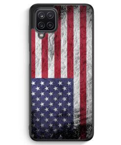 Samsung Galaxy A12 Silikon Hülle - USA Amerika Splash Flagge