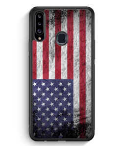 Samsung Galaxy A20s Silikon Hülle - USA Amerika Splash Flagge