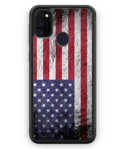 Samsung Galaxy M21 Silikon Hülle - USA Amerika Splash Flagge