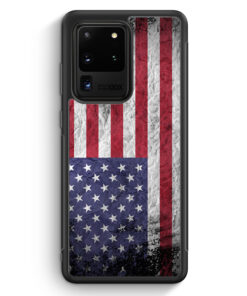 Samsung Galaxy S20 Ultra Silikon Hülle - USA Amerika Splash Flagge